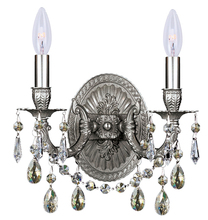 Crystorama 5522-PW-SSS - Crystorama 2 Light Pewter Sconce