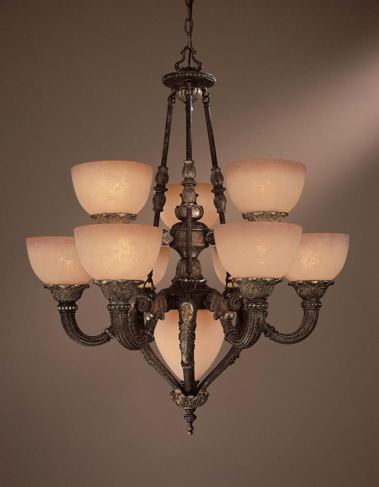 Ten Light Bronze Up Chandelier