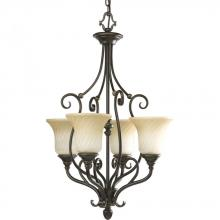 Progress P3464-77 - Four Light Forged Bronze Frosted Caramel Swirl Glass Up Chandelier