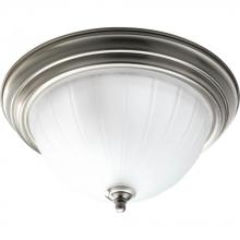 Progress P3817-09 - Two Light Brushed Nickel Etched Ribbed Glass Bowl Flush Mount