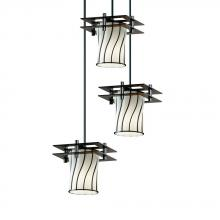 Justice Design Group WGL-8166-10-SWOP-DBRZ-BKCD-LED3-2100 - Metropolis 3-Light Cluster LED Pendant (2 Flat Bars)
