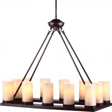 Sea Gull 31588BLE-710 - Fluorescent Ellington Twelve Light Rectangle Chandelier in Burnt Sienna with Cafe Tint Glass